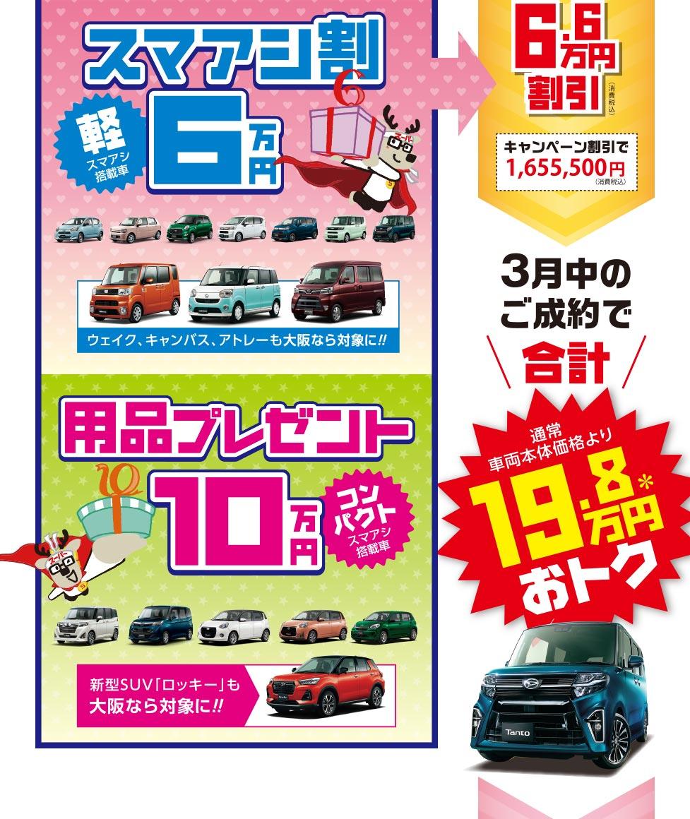スマアシ割6万円、用品プレゼント10万円